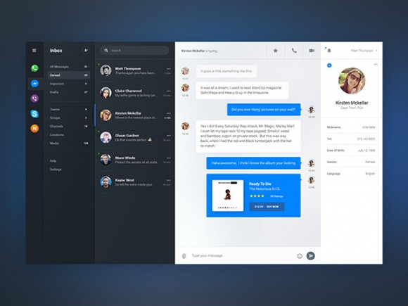 Chat dashboard - PSD app concept (Full view)