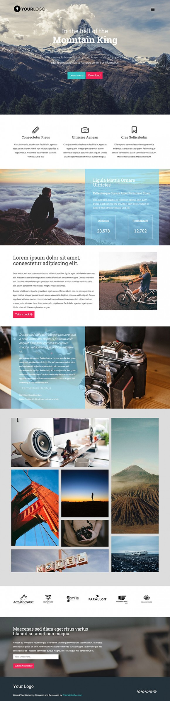 Mountain King: HTML Bootstrap template - Full image