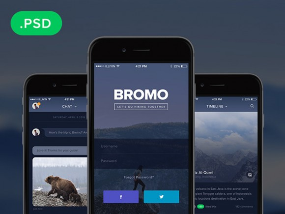 Bromo social mobile app template freebiesbug for Ios splash screen template psd