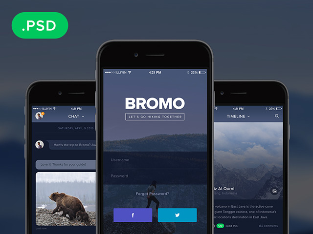Bromo social mobile app template freebiesbug for App design online