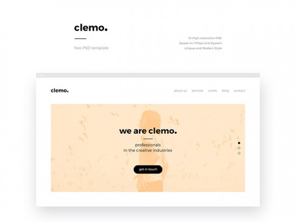 Clemo: A free PSD template for companies