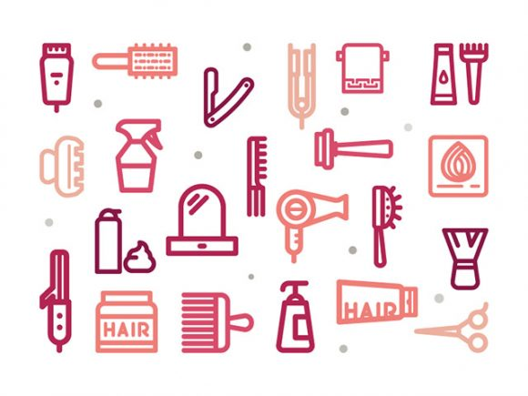 30 hair salon outline icons