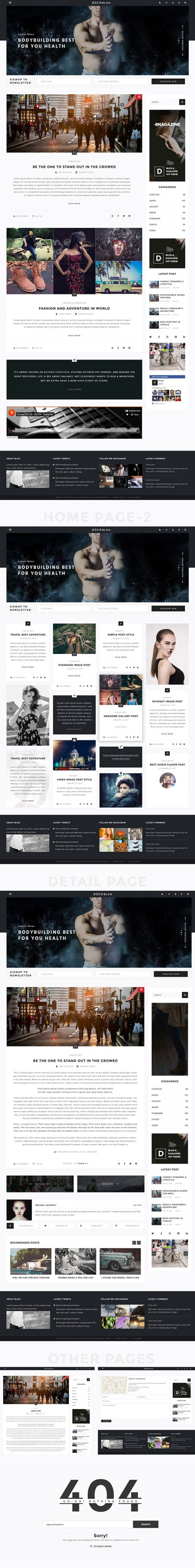 Personal blog PSD template - Full preview