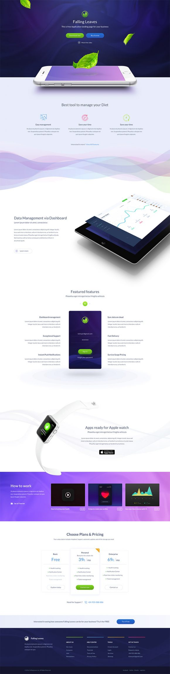 One Page landing template for mobile apps - Full preview