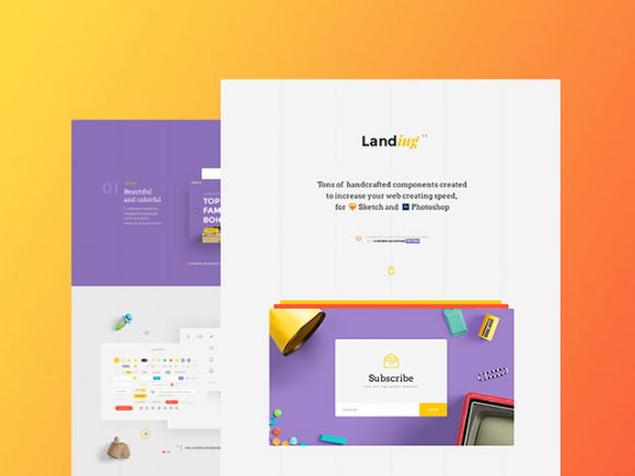 Landing: Free UI kit for Sketch and Photoshop