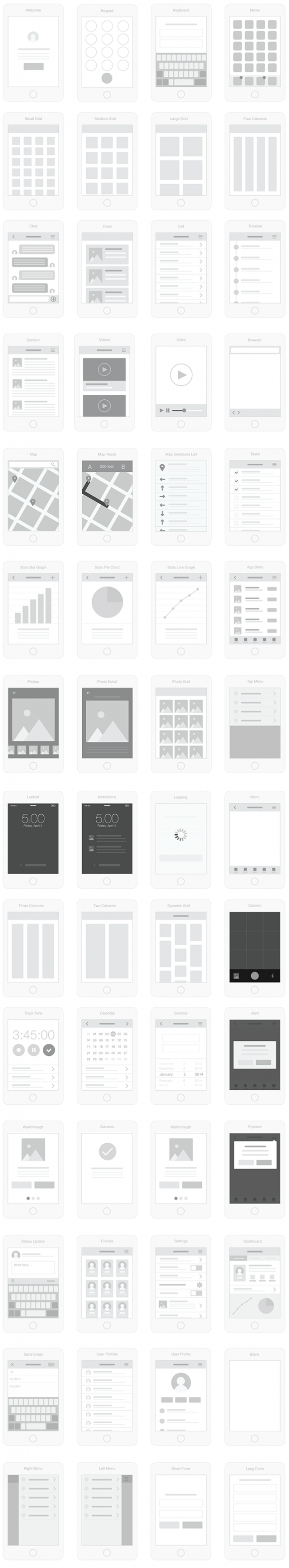 Mobile UI wireflow kit - Full Preview