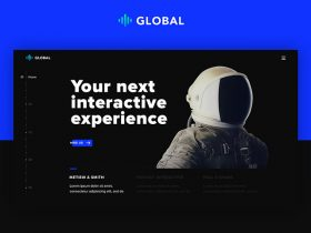 Global: A futuristic one page portfolio in PSD and HTML