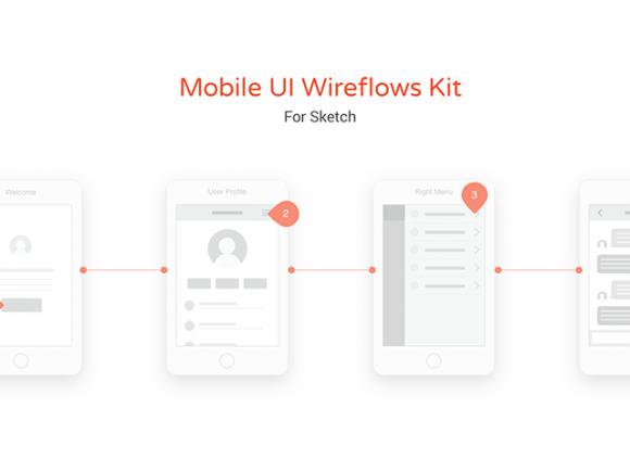 Mobile UI wireflow kit for Sketch