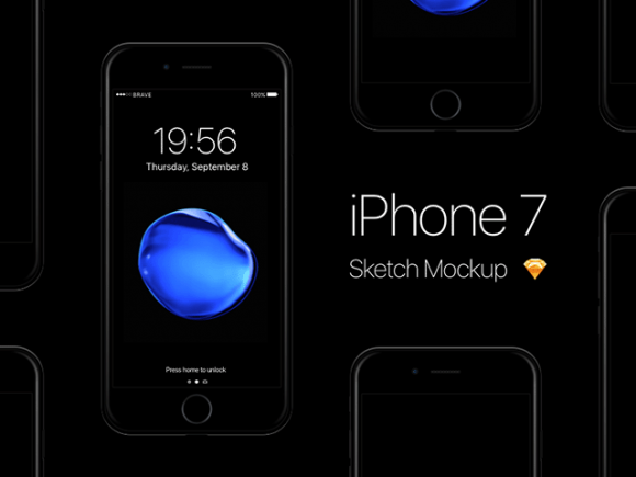 iPhone 7 Jet Black Sketch mockups by Pontus Börjesson