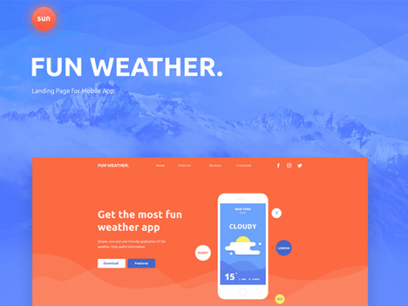 Fun Weather: A free landing page template for your apps