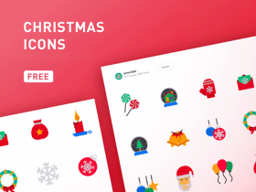 Free set of 39 coloured Christmas icons