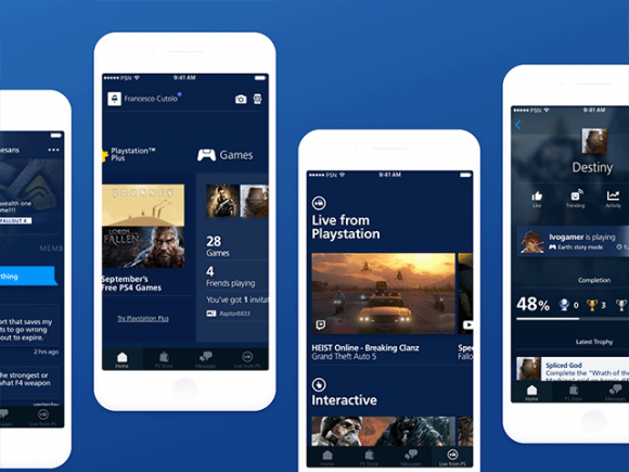 Playstation app redesign - Free Sketch UI kit