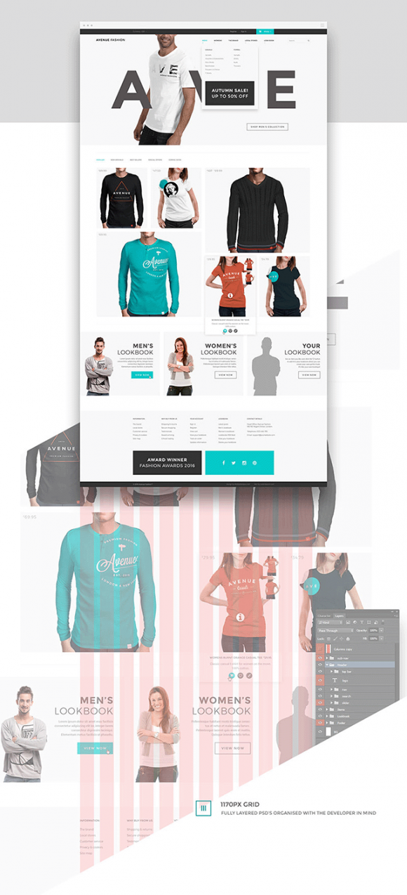 Avenue Fashion ecommerce template - Full preview