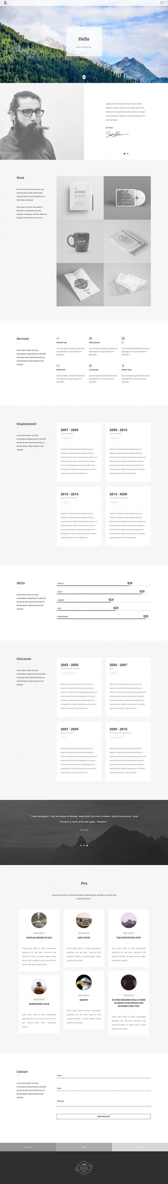 Bodo HTML template - Full preview