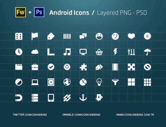 Android icons free PSD