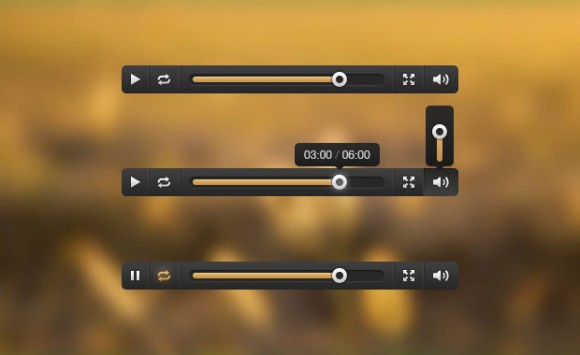 Media player UI free PSD