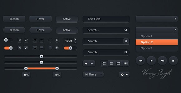 UI dark kit PSD