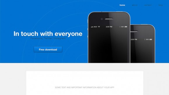 App launch Website Template PSD