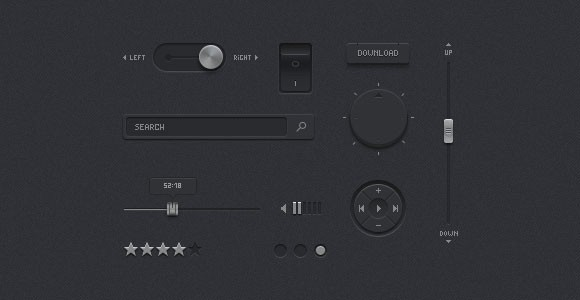 Minimal dark UI kit PSD