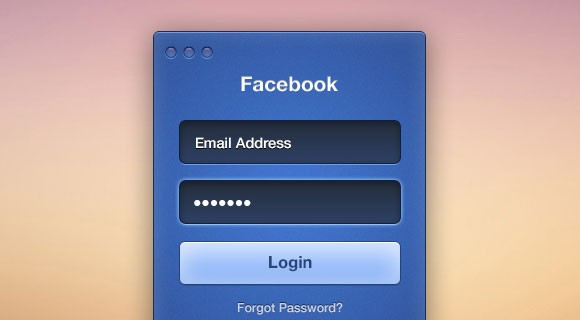 Facebook login PSD