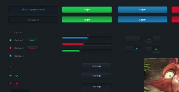 Black basic UI Kit with glow effect PSD