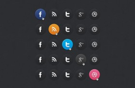 Dark social media icons PSD