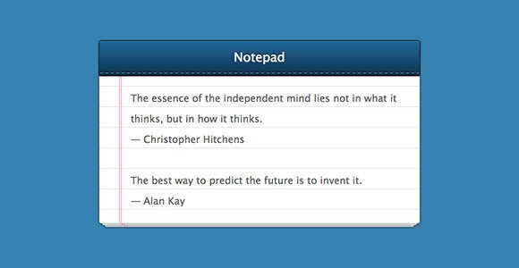 Notepad CSS snippet