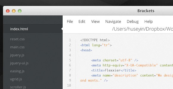 Brackets - Text editor UI for coding PSD