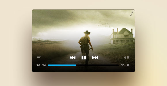 Another cool PSD video player - Freebiesbug