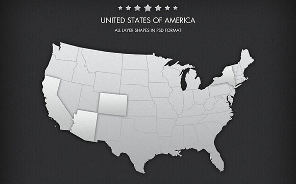 Free PSD USA map Freebiesbug