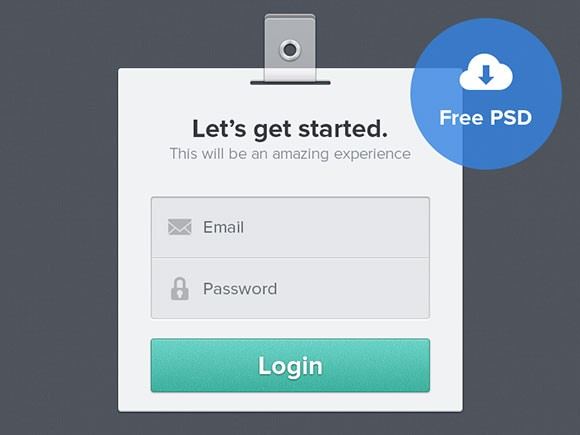 PSD login form badge