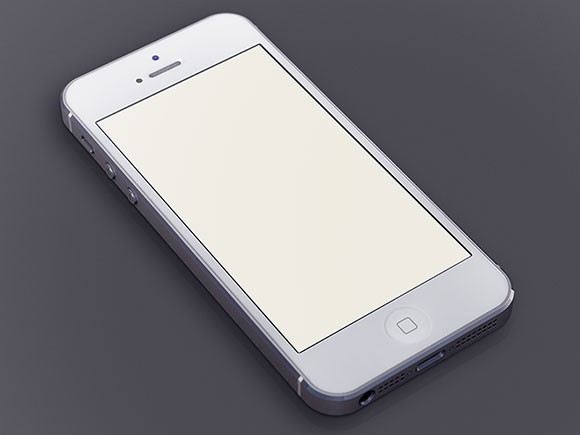 White iPhone5 free PSD mockup
