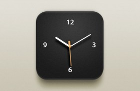 Beautiful clock iOS icon PSD