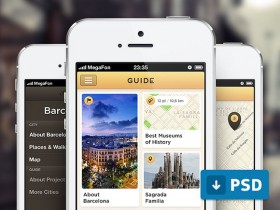 City guide app free PSD