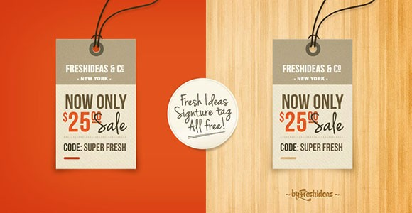 Retro price tag PSD