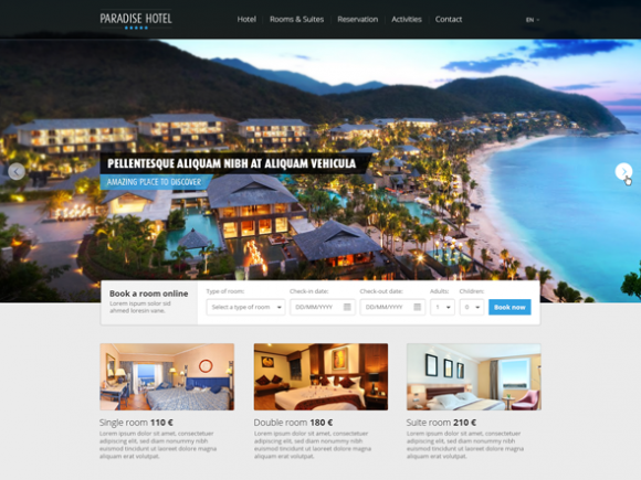 Paradise Hotel Psd Website Template Freebiesbug