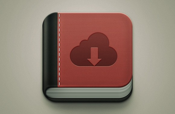 Book icon for apps! A free PSD vector file designed by Sebastiano for Wegraphics.