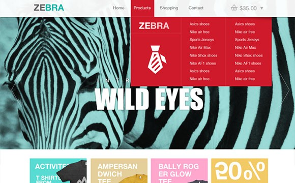 Zebra: ecommerce website template PSD