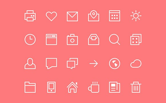 Thin stroke icons PSD