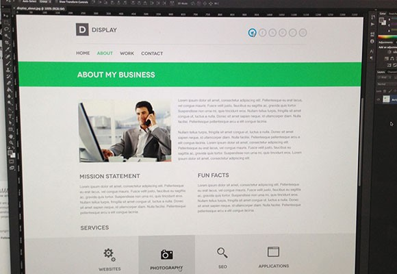 Display PSD website template
