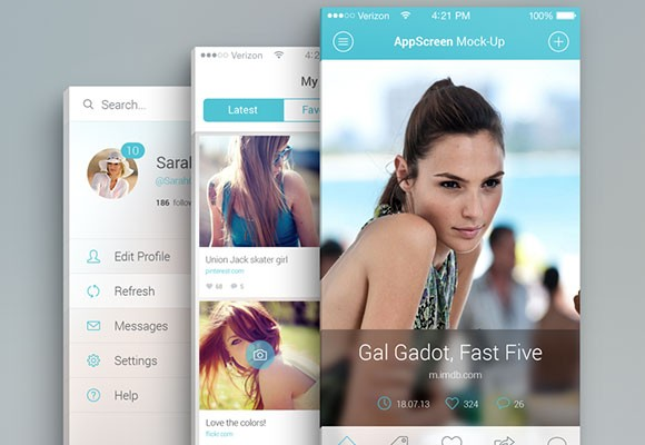 Screen PSD mockup for apps