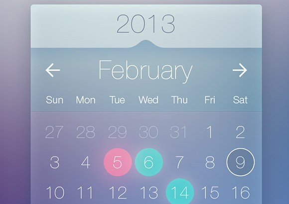 Transparent calendar widget PSD