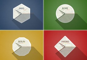 European flat clocks PSD