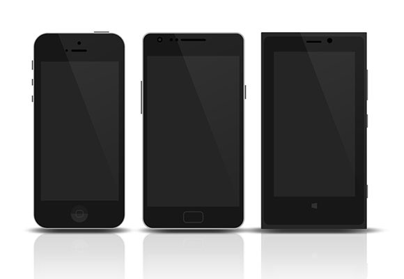 3 flat mobile devices mockups