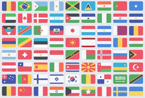 100 flat flag PSD icons