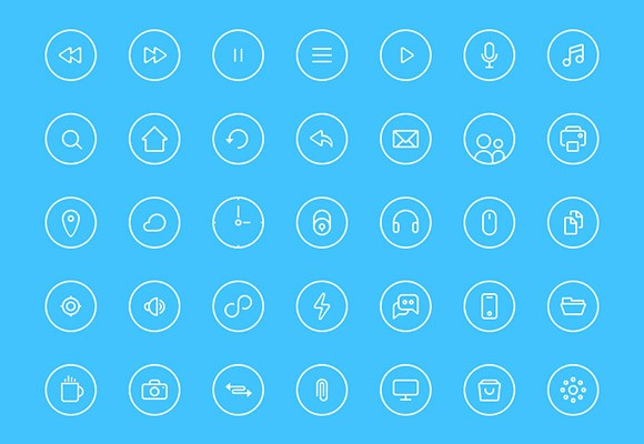 Thin rounded icons PSD