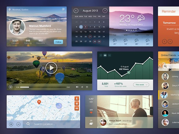 Modrern and flat UI kit PSD