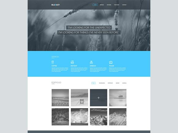 Blueasy psd portfolio template freebiesbug for Free html portfolio templates