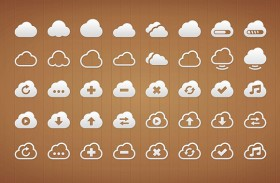 40 Cloud icons PSD
