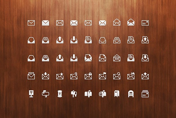 45 Mail icons PSD